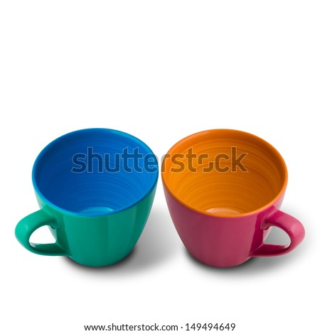 Two Beautiful colors Ceramic Cup on white Background and shadow - stock photo