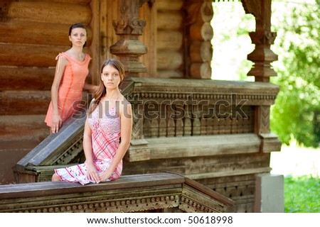 Two beautiful girl near wooden wall in summer park.