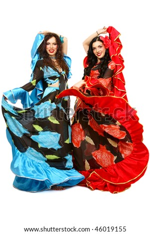 Two beautiful girls in costumes of Gypsies over white background  sc 1 st  Shutterstock & Two Beautiful Girls Costumes Gypsies Over Stock Photo (Royalty Free ...