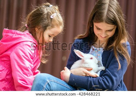 Two beautiful girls is holing in hands the white rabbit. happiness and smiling girls - stock photo