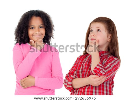 Two beautiful girls thinking isolated on a white background - stock photo