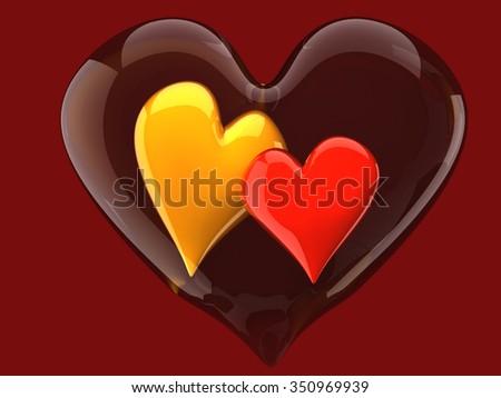 two beautiful glossy hearts inside glass heart - stock photo