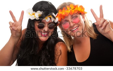 Two Beautiful Hippie Girls with Peace Signs Isolated on a White Background. - stock photo