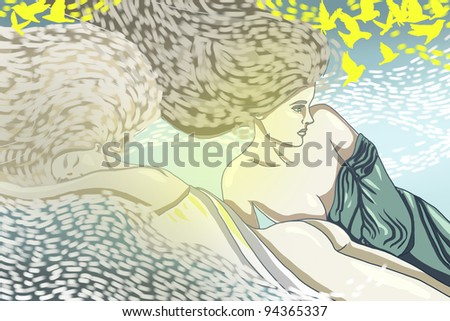 two beautiful illustration women with decoration elements and yellow birds - stock photo