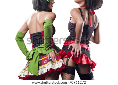 Two beautiful ladys from the back - stock photo