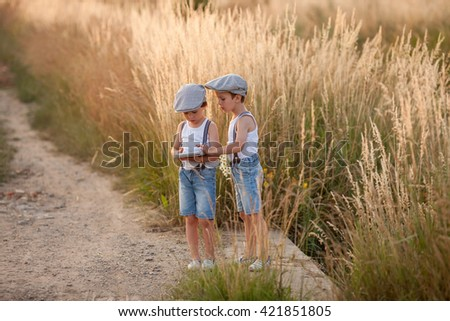Two beautiful little children, boys, brothers playing on tablet, summertime - stock photo