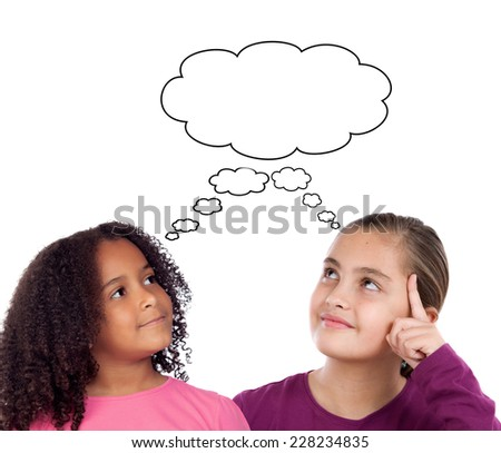 Two beautiful little girl thinking isolated on a white background - stock photo
