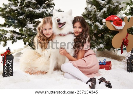 Two beautiful little girl with long hair in a white winter sweater sitting in the snow under the Christmas trees and embraces a large white dog Siberian Husky gift for New Year lantern with a candle - stock photo