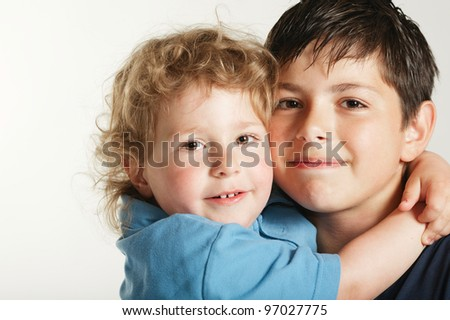 two beautiful lovely brothers - stock photo