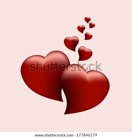 two beautiful red heart symbol of love for holiday greetings - stock photo