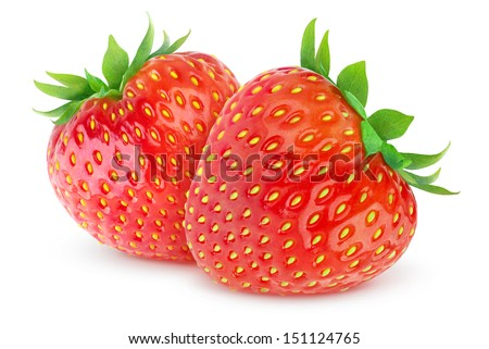 Two beautiful strawberries over white background - stock photo