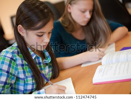 Two beautiful teen students writing while lesson - stock photo
