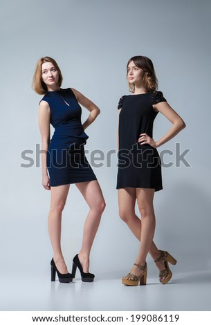 Two beautiful woman posing in a fancy dresses. Studio shooting