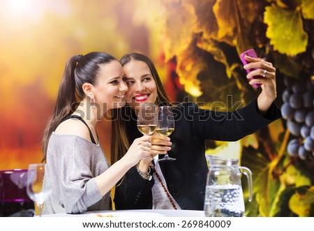 Two beautiful women having fun in a wine bar - stock photo