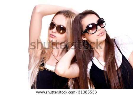 two beautiful women in a suit on a white background isolated - stock photo
