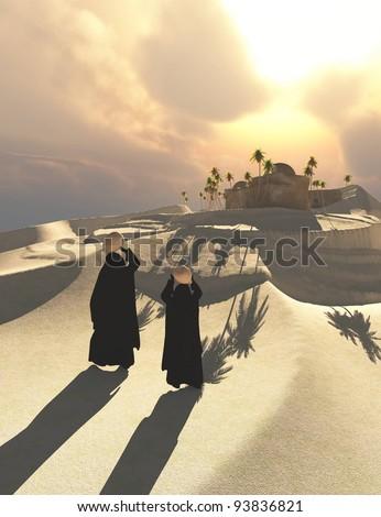 Two Bedouin women walking in Oasis desert in the afternoon - stock photo