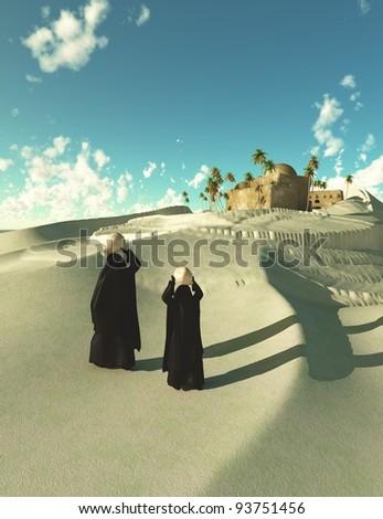 Two bedouin women walking in Oasis dessert - stock photo