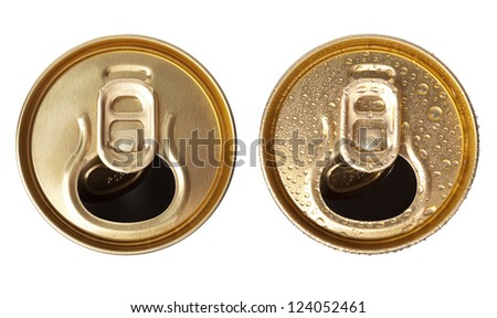 Two beer cans on a white background top view - stock photo