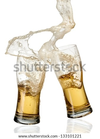 Two beer glasses up