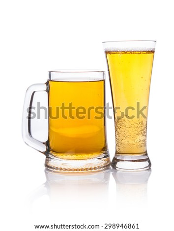 Two beer mugs on a white background - stock photo