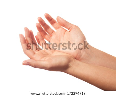 Two begging hands - stock photo