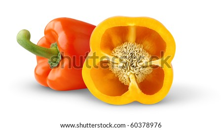 Two bell peppers isolated on white