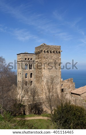 Two bell towers of Benedictine monastery of Sant Pere de Rodes, Girona province, Catalonia, Spain