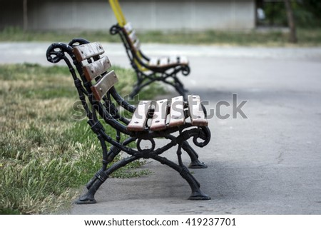Two benches - stock photo