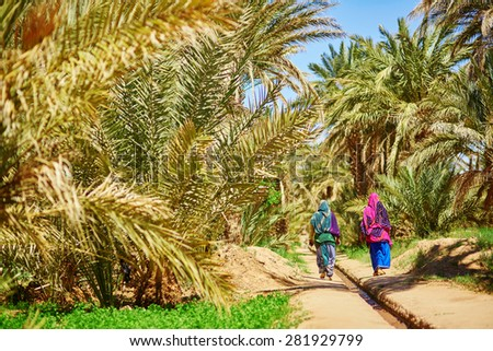 Two berber women in national clothes walking in oasis of Merzouga village in Sahara desert, Morocco - stock photo