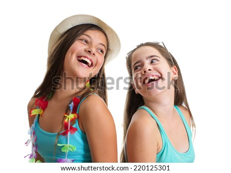 Two best friend girl in summer clothes having a great time - isolated on white - stock photo