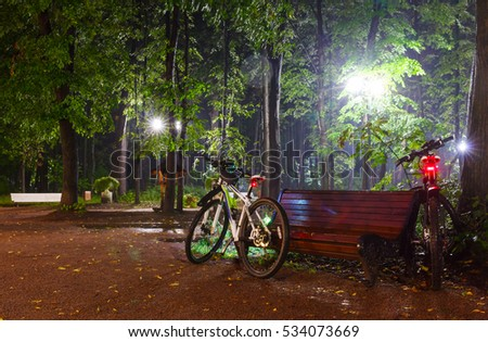 Two bicycle near the benches in the alley on the pavement in a light-lantern at night, Moscow summer park
