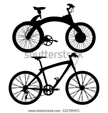 two bicycles shapes isolated on white