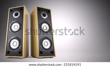 Two Big Audio Speakers boxes with empty space -  advertisement, music, concert, audio concept - stock photo