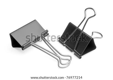 two big black binder clips for paper isolated - stock photo
