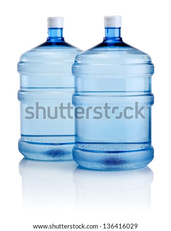 Two big bottles of water isolated on a white background - stock photo