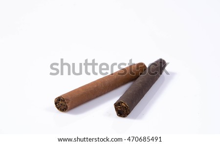 Two big cigars, one on another, on white background