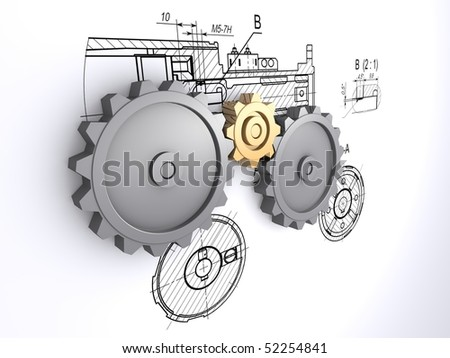 two big metallic gray and one small golden gears against a background of engineering drawings with shadow - stock photo