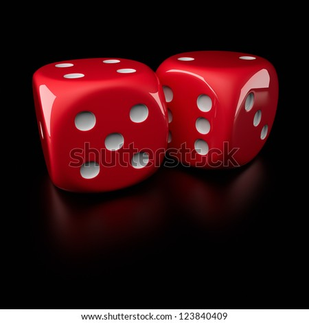 Two big red dice on the black background - stock photo