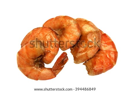 Two Big Red Prepared or Grilled King Size Shrimps Or Prawns Laying Isolated On White Background, Close up, Top View - stock photo