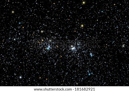 Two big star clusters with cross-shaped stars. - stock photo
