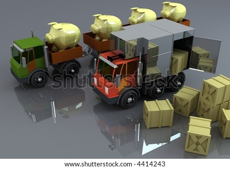Two big trucks with load ready to do business - stock photo