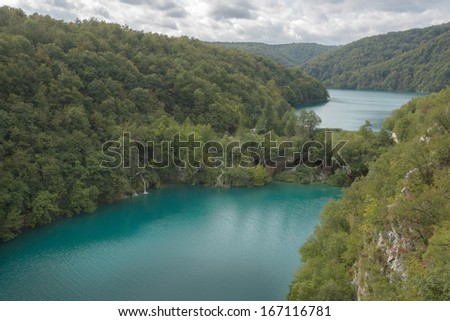 Two biggest lake in UNESCO Plitvice National Park - stock photo
