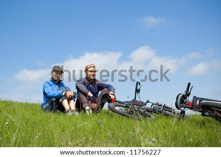 two bikers - stock photo