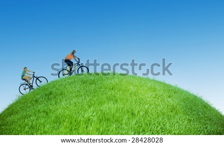 two bikers on green Earth