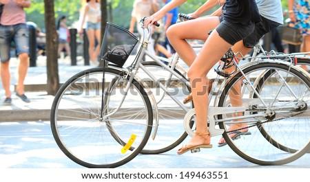 Two bikes in profile - stock photo