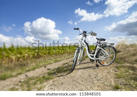 Two bikes on rock path, in summer