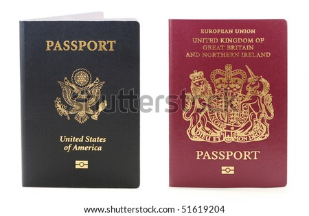 two biometric passport  one usa and  the other British - stock photo