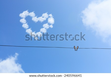 Two Bird Hang On Wire Under Blue Sky with Love Cloud Concept,Selective Focus - stock photo
