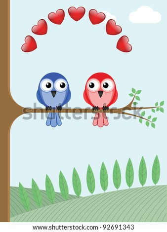Two bird lovers sat on a tree branch