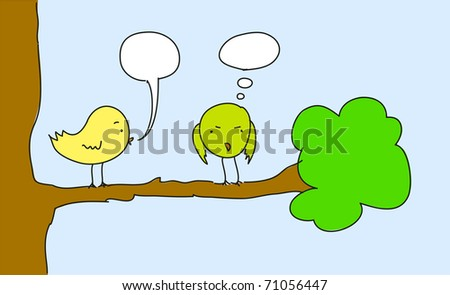 Two birds. For vector version see image no. 63658003